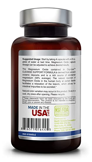 Amazon.com: Oxy-Lax 750 mg 120 Vcaps - Natural Magnesium Oxide | Gentle Laxative | Healthy Digestive Tract | Regularity Formula | Oxygen Based Colon ...