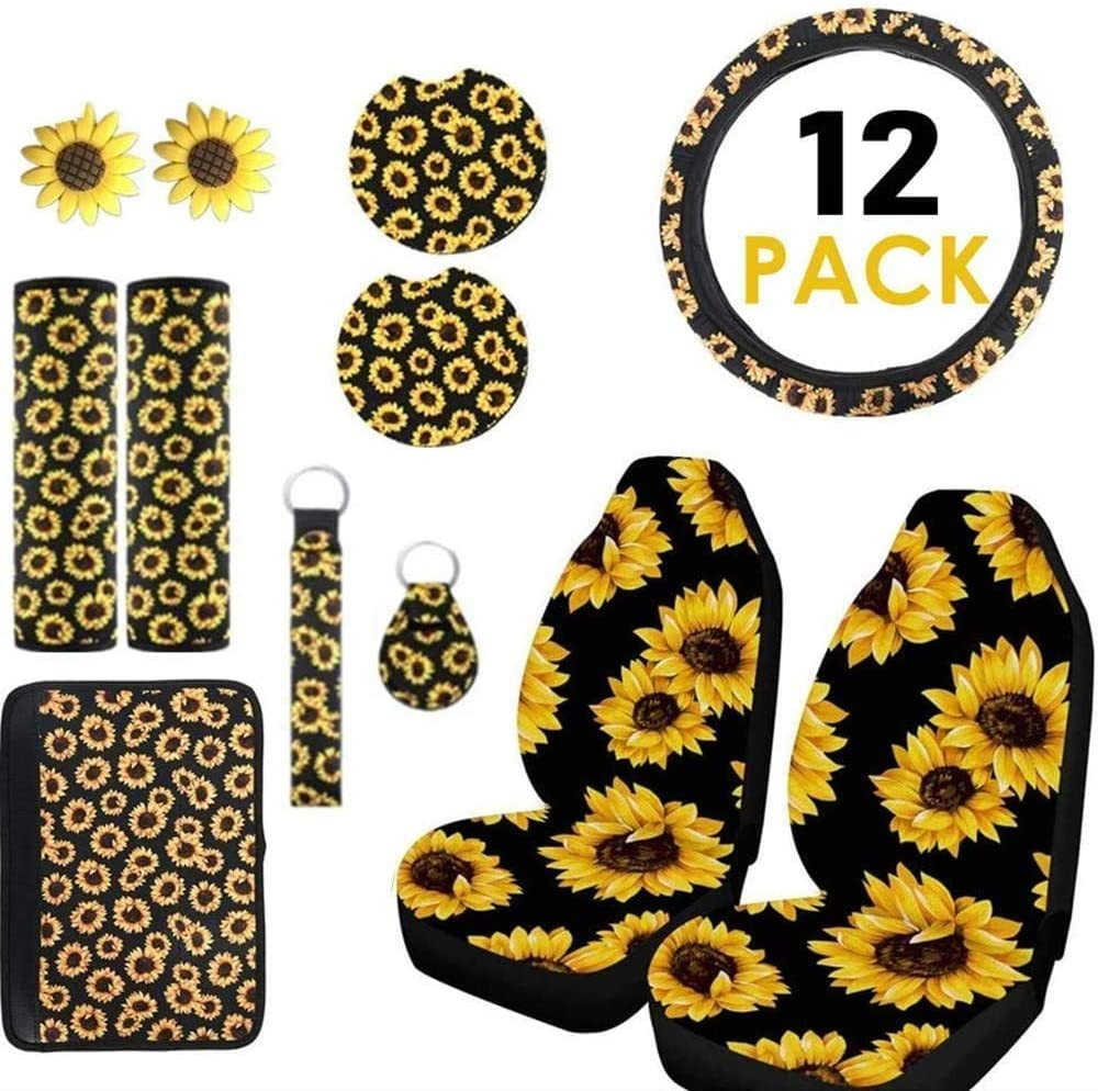 2 Car Vents 2 Cup Holder Coasters Sunflower Car Accessories Set of 12 2 Seat Belt Covers Decorate Your Car 2 Front Seat Covers 1 Armrest Pad Cover Include 1 Steering Wheel Cover 2 Keyrings