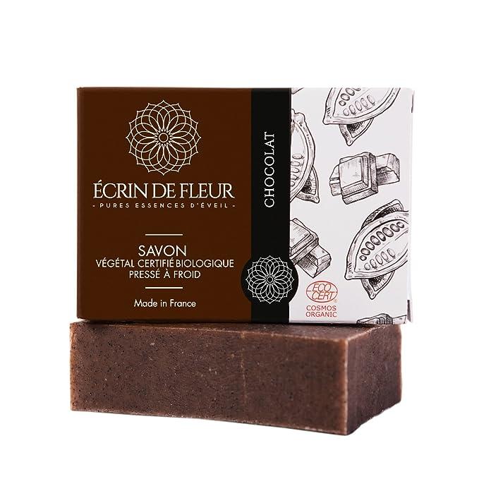 ÉCRIN DE FLEUR - Pastilla Jabón de Chocolate Certificado orgánico por Ecocert - Jabón de Manteca de Cacao - Jabón Sin Sulfatos ni Ingredientes Tóxicos que ...