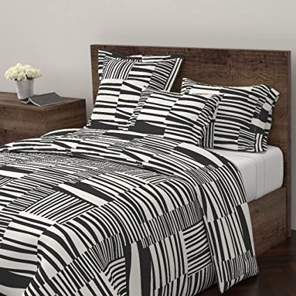 Amazon Com Big Print Duvet Cover Monochrome Stripe 60s Eclectic
