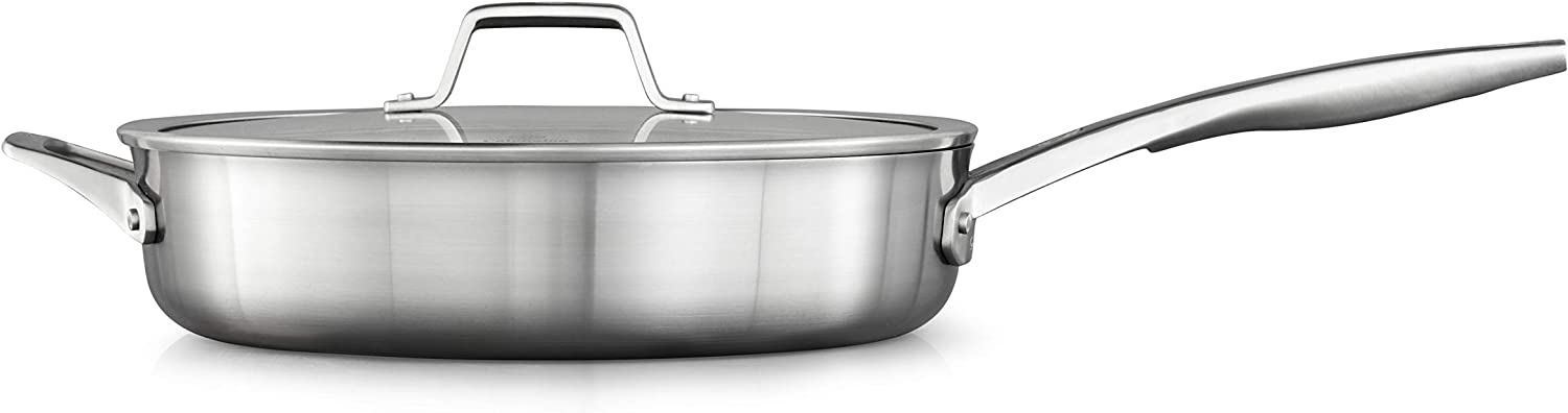 Calphalon saute pan with lid, 5 QT, Silver
