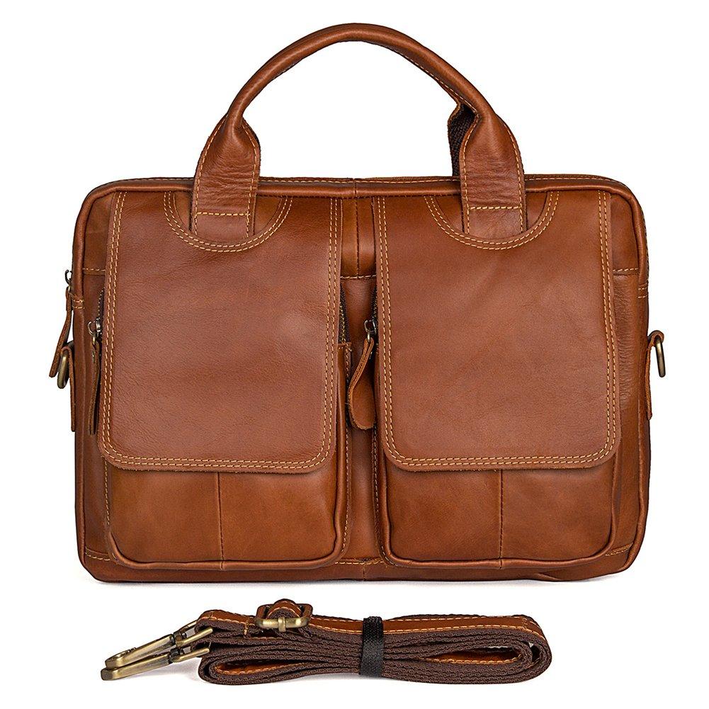 Genda 2Archer Mens Genuine Leather Shoulder Briefcase Shoulder Tote Bag