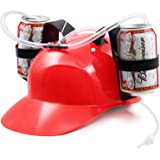 [Novelty Place] Guzzler Drinking Helmet - Can Holder Drinker Hat Cap with Straw for Beer and Soda - Party Fun - Red