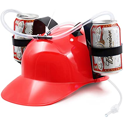 20e86b13d9362 Amazon.com   Novelty Place  Guzzler Drinking Helmet - Can Holder Drinker Hat  Cap with Straw for Beer and Soda - Party Fun - Red  Kitchen   Dining