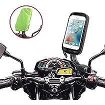 ENONEO Soporte Movil Moto Impermeable 360° Rotación Soporte Telefono Motocicleta con Cubierta de Lluvia Funda Soporte Movil Scooter Retrovisor para iPhone XS MAX/XR/X/Samsung S9/S8 hasta 6.7