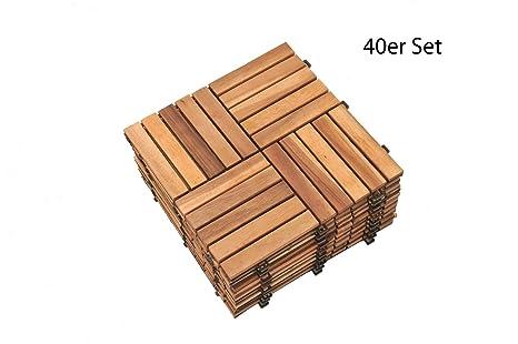 Sam® mosaico piastrelle di legno 04 balcone piastrelle acacia oliato