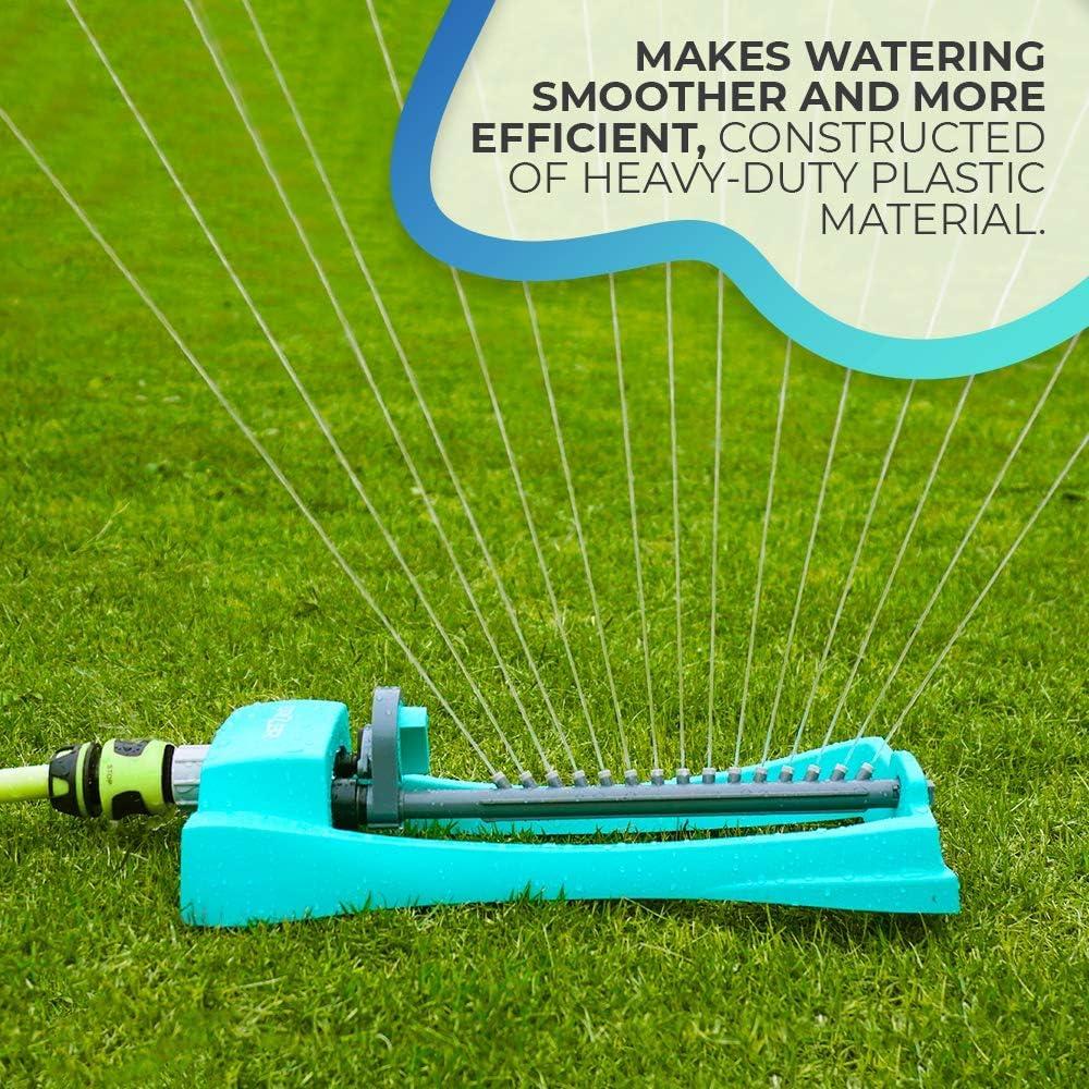 Brizer Oscillating Lawn Sprinkler, Waters 3, 000 ft. of Lawn Care, Water Hose for Grass, Sprinkler for Yard, Sprinklers Oscillating, Garden Hose Nozzle, Water Sprinkler for Lawns (Aqua) : Garden & Outdoor
