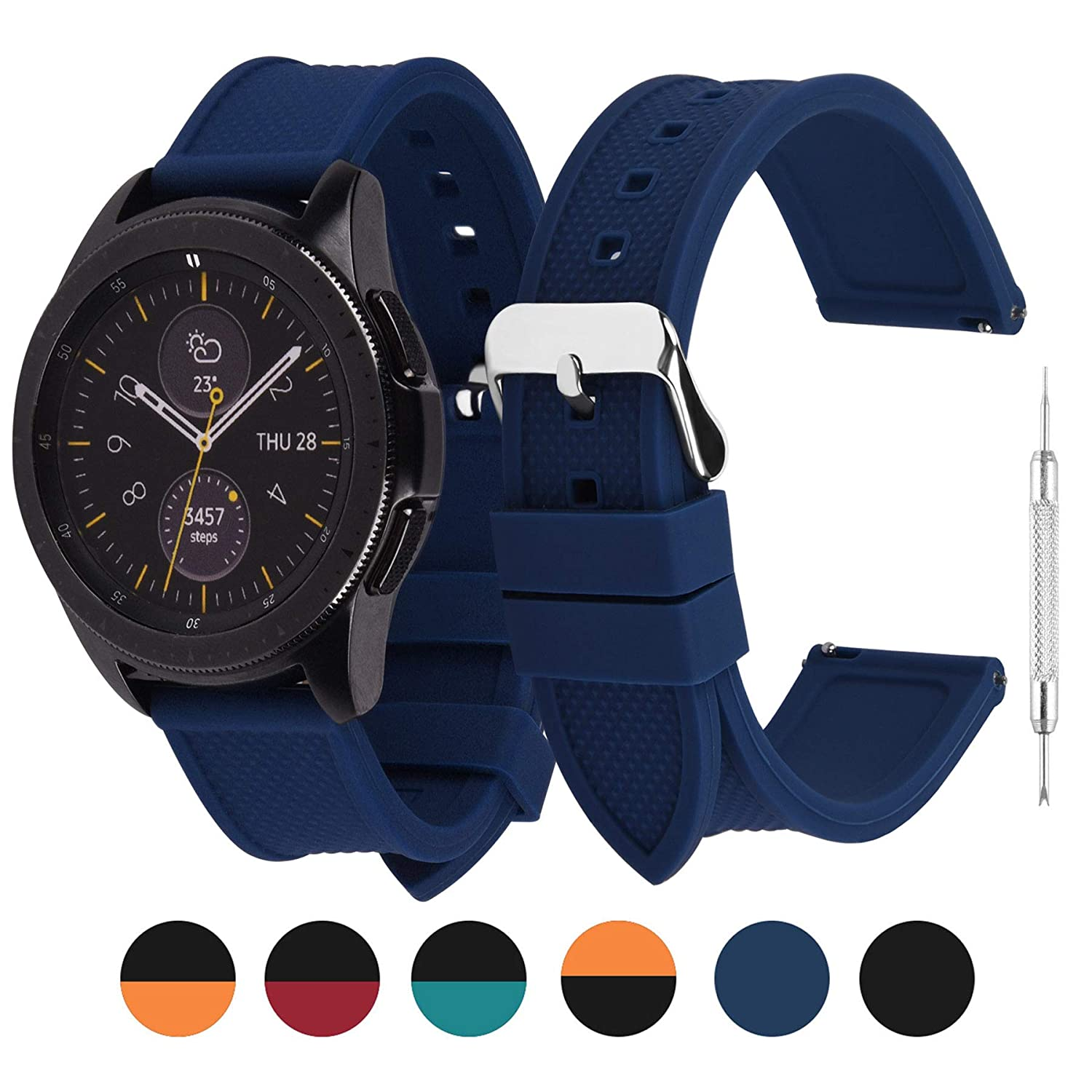 6 Colors Silicone Fullmosa Watch Band 18mm/20mm/22mm Compatible Huawei Watch, Samsung Galaxy Watch,Samsung Gear S3 Classic/Frontier/Galaxy 46mm Watch, Moto 360 2nd Gen/Amazfit Bip