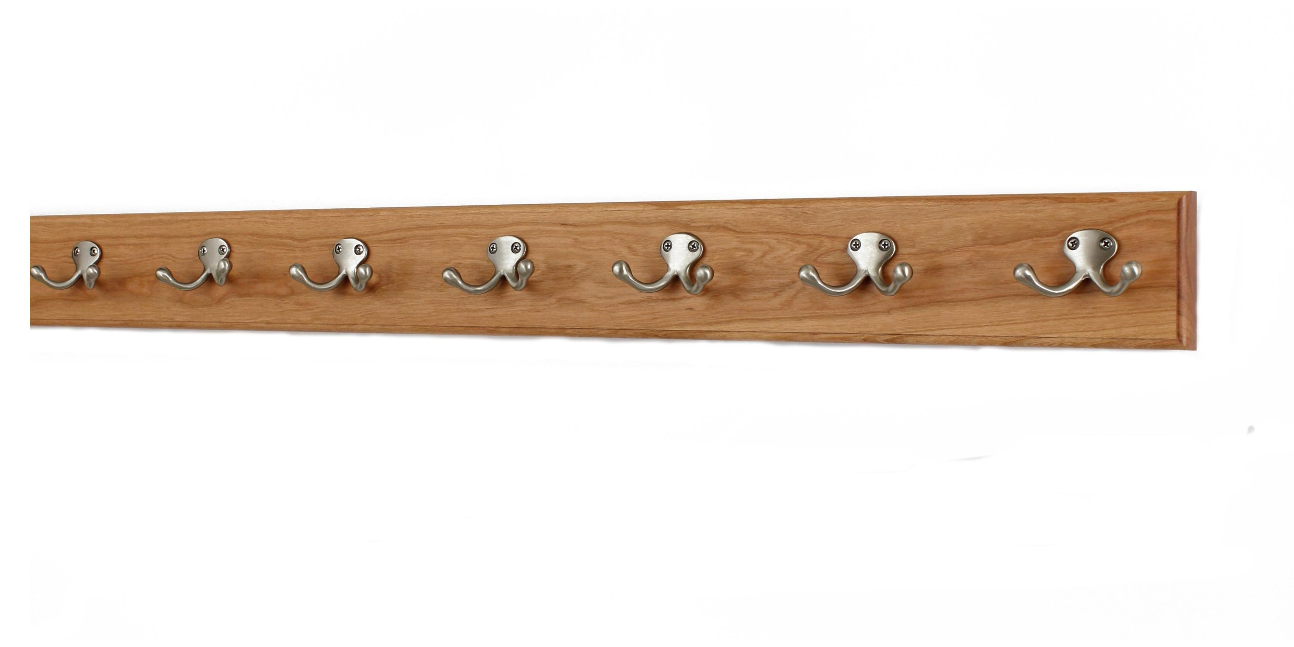 Solid Cherry Wall Mounted Coat Rack with Satin Nickel Double Style Coat Hooks - Made in the USA (Cherry, 36'' x 3.5'' with 7 hooks)