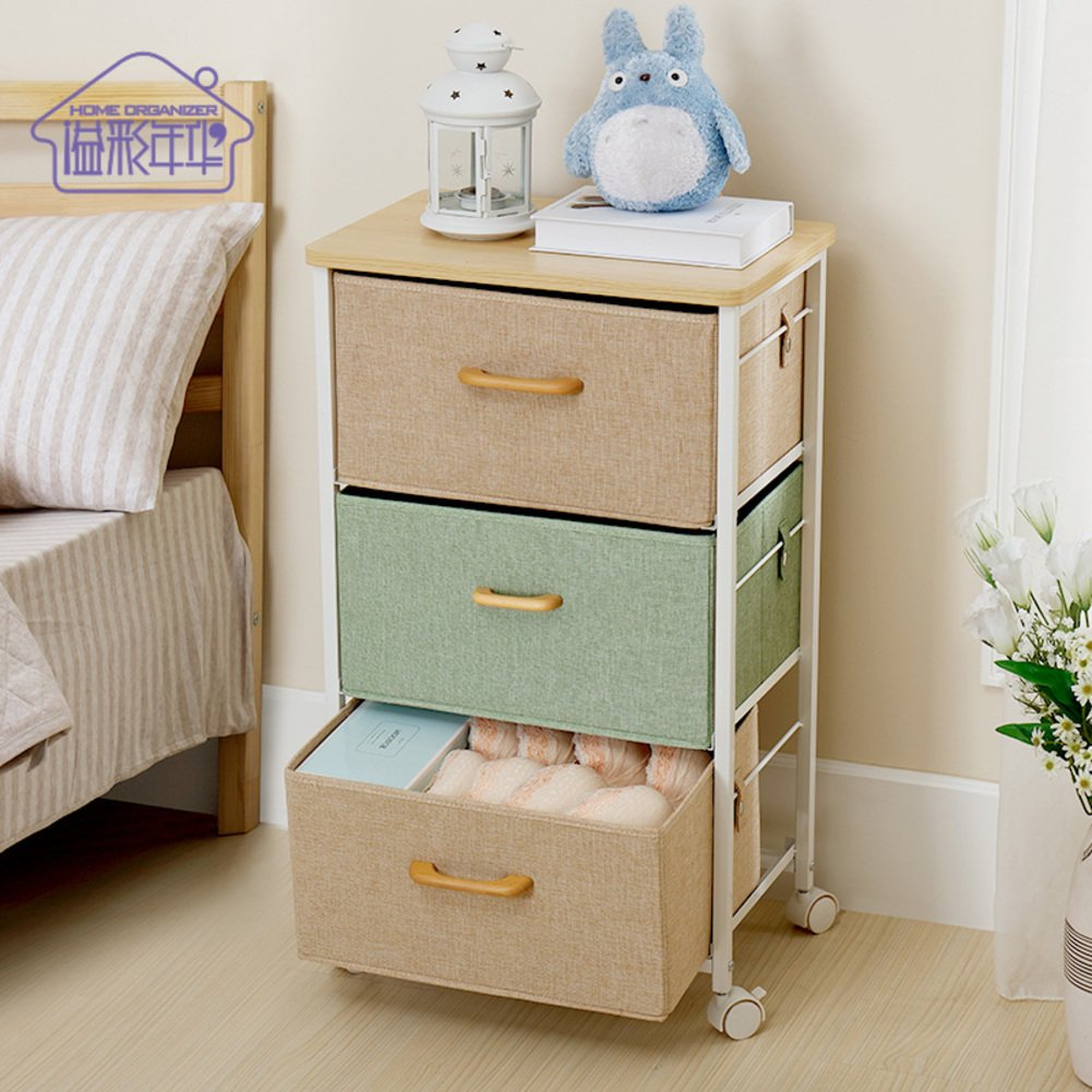 Time drawer type storage cabinet simple modern storage cabinet multifunctional simple multi-storey bedside table-Taobao-A 45x30x75cm(18x12x30)