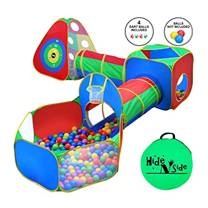 sports shoes 34f3a b22ab 5pc Kids Ball Pit Tents and Tunnels, Toddler Jungle Gym Play Tent with Play  Crawl Tunnel Toy, for Boys babies infants Children, w/ Basketball Hoop, ...