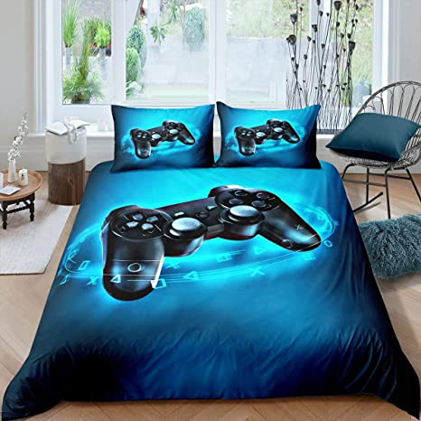 ADASMILE A /& S Gamer Bedding Sets for Boys Gaming Bedding Twin Size Gamepad Comforter Cover Gamer Console Game Joystick Duvet Cover for Kids Boys Home Decor with 1 Pillowcase No Comforter