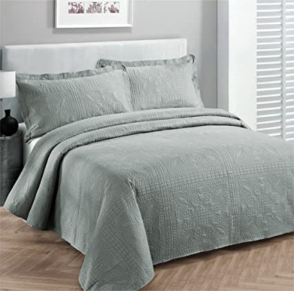 Fancy Collection 3pc Luxury Bedspread Coverlet Embossed Bed Cover Solid  Grey New Over Size 118u0026quot;