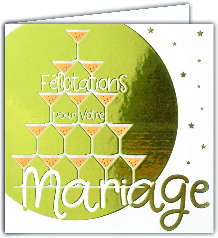 Carte Carr/ée Dor/ée Or F/élicitations pour votre Mariage