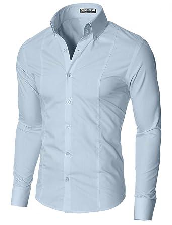pretty nice 91a05 72055 MODERNO Herren Business Hemd Slim Fit, Langarm, Hoher Kragen