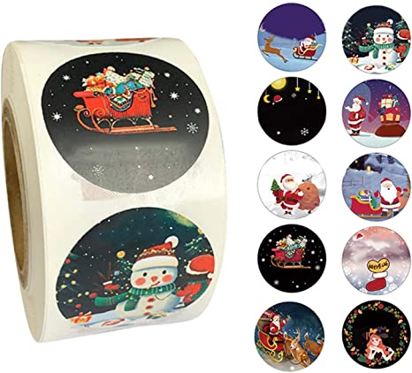 500Pcs//Roll Christmas Stickers Self Adhesive Labels Seal Sticker Santa Claus US