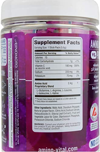 Amino VITAL Action - Vegan BCAA Powder with Electrolytes, Glutamine and Arginine, Grape Single Serve Packets, Keto Friendly Workout Drink Supplement for Hydration and Endurance