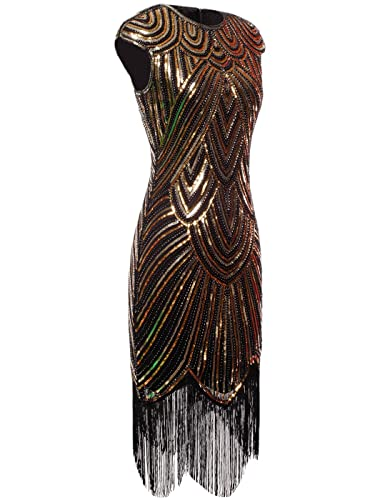 f6c921ab FAIRY COUPLE 1920s Sequined Embellished Tassels Hem Flapper Dress D20S002  at Amazon Women's Clothing store: