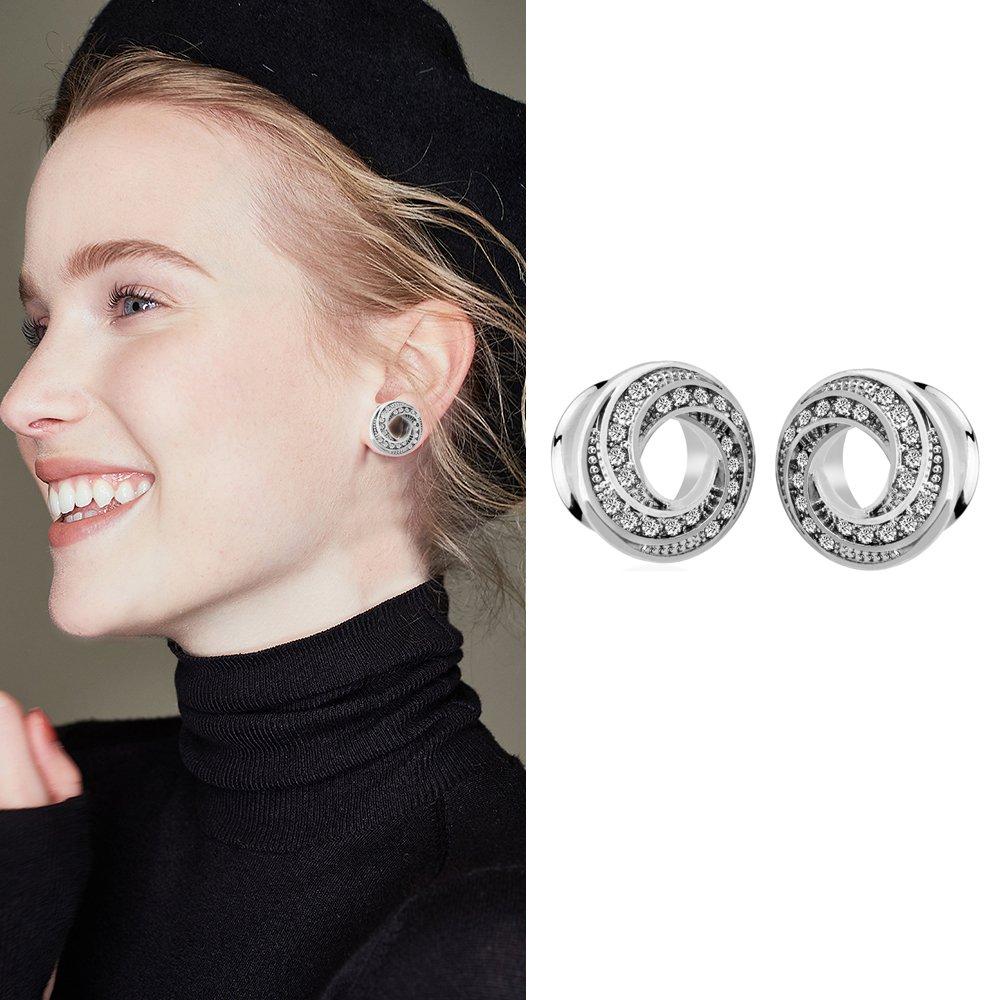 YIDULA Ear Gauges Plugs Tunnels for Ears Doughnut Diamond Stretcher Piercings Jewelry (Steel 00g-10mm)