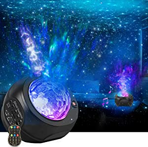Star Projector Night Lights, HueLiv 3 in 1 Galaxy Projector Light, Sky Nebula/Moving Ocean Wave, Best Gift for Kids Adults for Bedroom/Party with Hi-Fi Stereo Bluetooth Speaker, Voice&Remote Control
