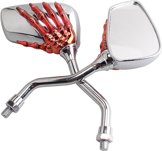 red Universal Fit Chrome Skull Skeleton Side Mirrors Rare Mirror for Motorcycle Moto Bike 10mm 8mm Thread Bolts For Suzuki Honda Kawasaki Yamaha Victory