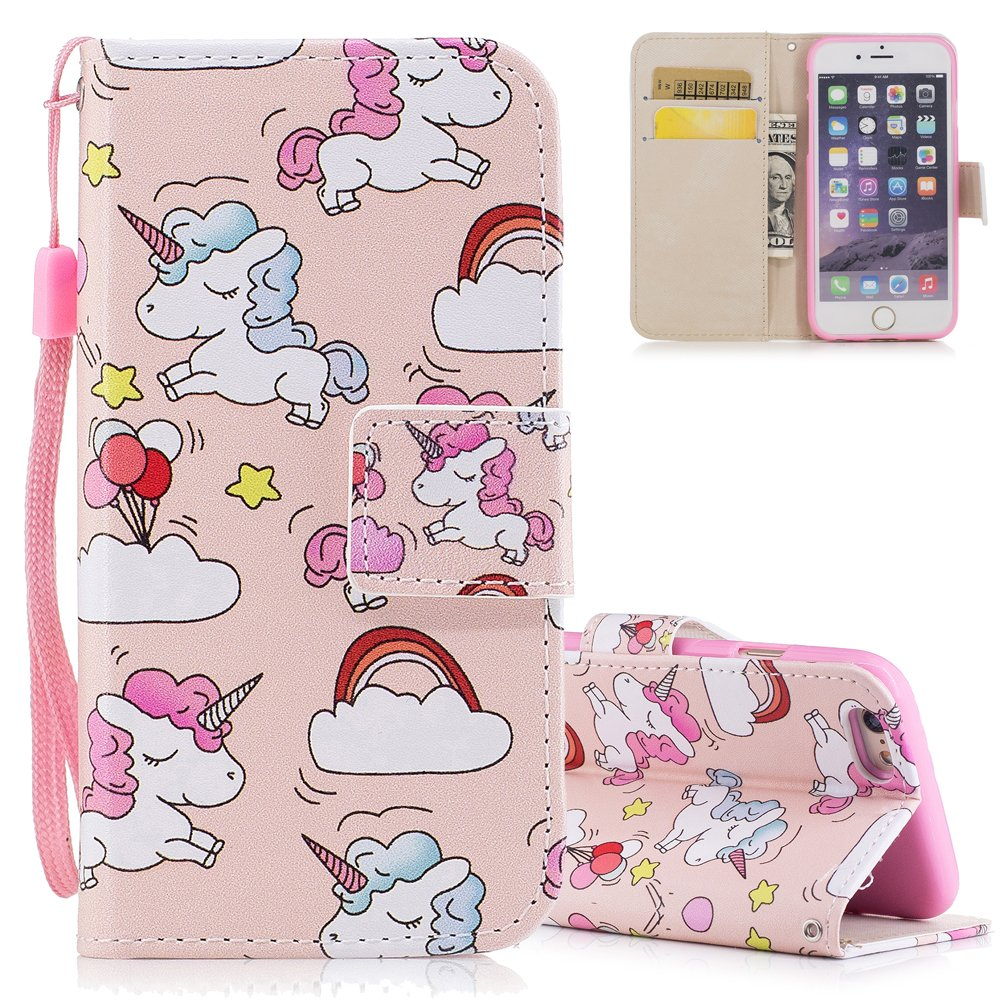 Flip Stand Feature Magnetic Clasp with Detachable Hand Strap Wallet Holster for iPhone 6//6S 4.7 inch Aeeque iPhone 6 Cute Colorful Animal Horse Pattern and Slim Thin PU Leather iPhone 6S Case