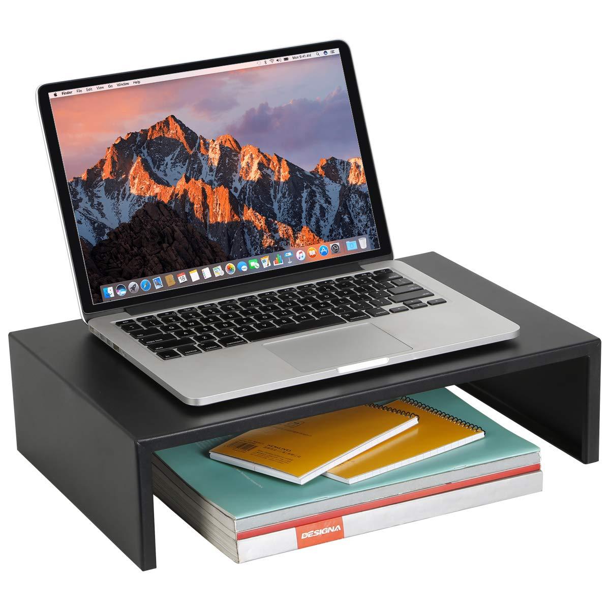 DESIGNA Metal Computer Monitor Stand for Desktop, Laptop or TV Riser, Black