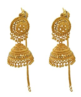 Shreyadzines Traditional Ethnic Collection Gold Plated Jhumki Earrings with Attached Ear Chains for Women(Golden, JME1755)