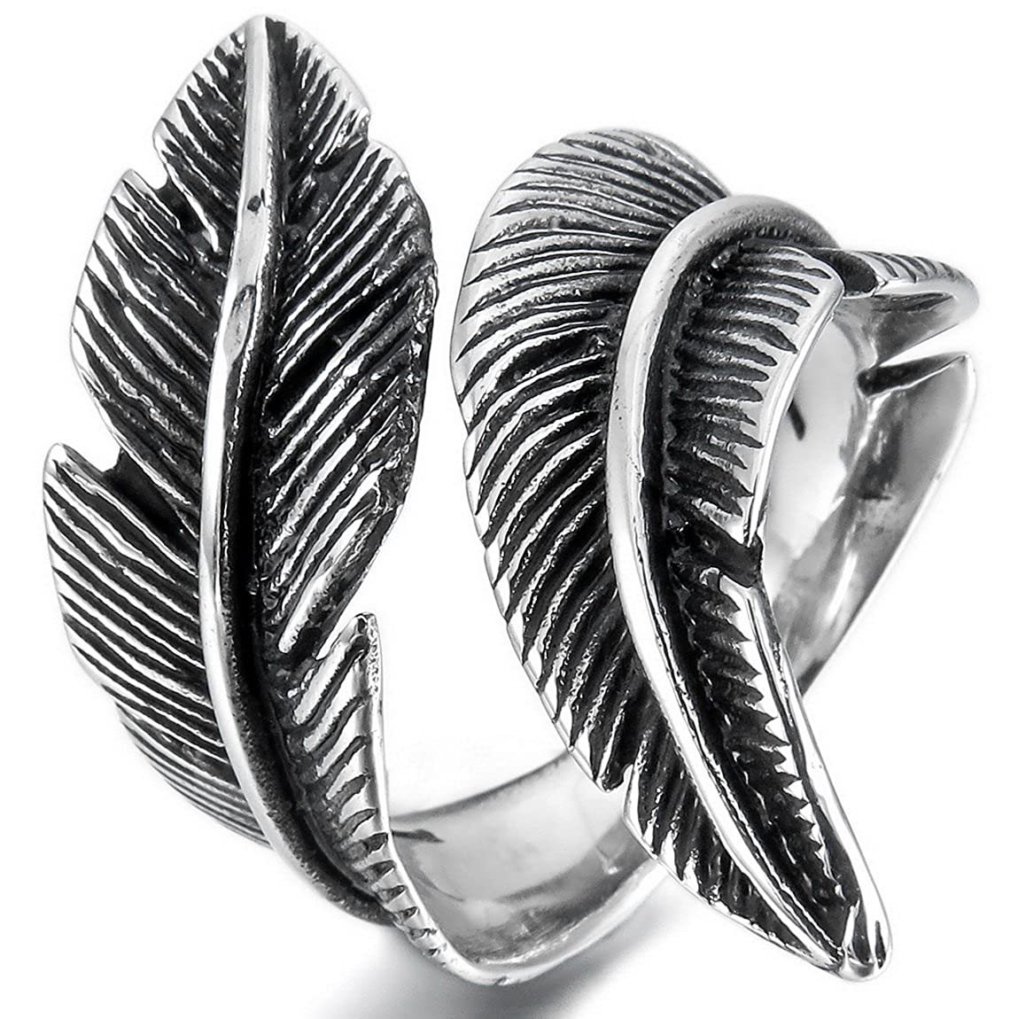 INBLUE Men,Women's Stainless Steel Ring Black Silver Tone Feather INBLUE Jewelry mne928-parent