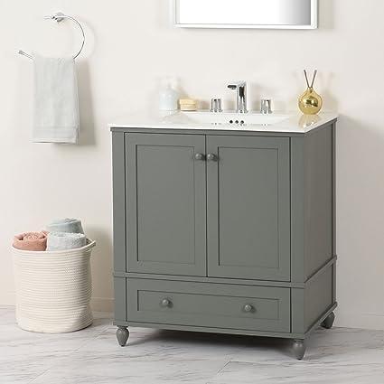 MAYKKE 31 Stella Vanity Set In Grey White Ceramic Sinktop