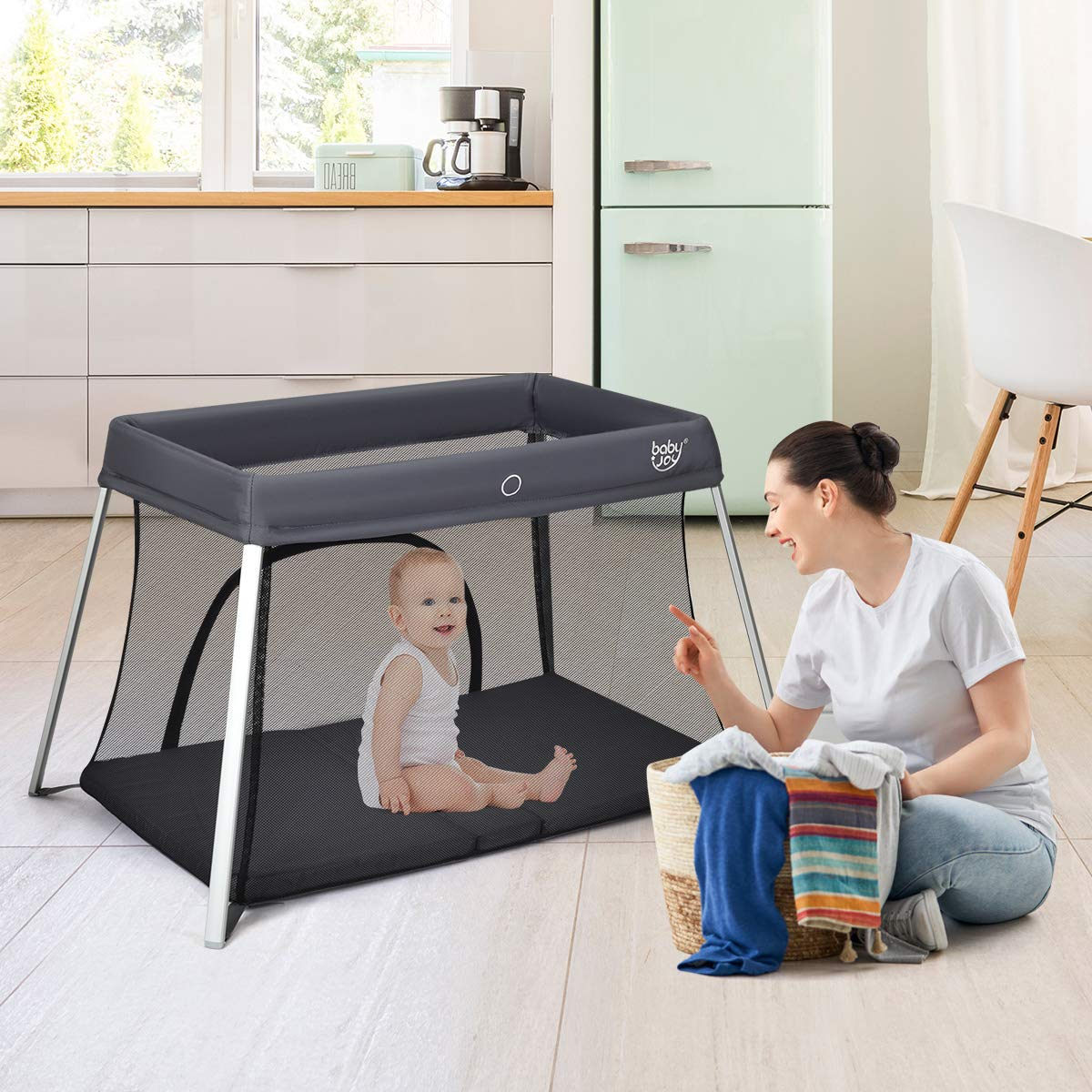 BABY JOY Baby Foldable Travel Crib, 2 in 1 Portable Playpen with Soft Washable Mattress, Side Zipper Design, Lightweight Installation-Free Home Playard with Carry Bag, for Infants Toddlers Grey