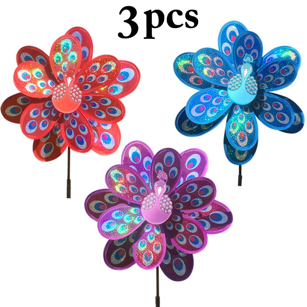 Funpa 3PCS Outdoor Decor Pinwheel Party Wind Spinner Peacock Shape Shiny Pinwheel for Kids Toy