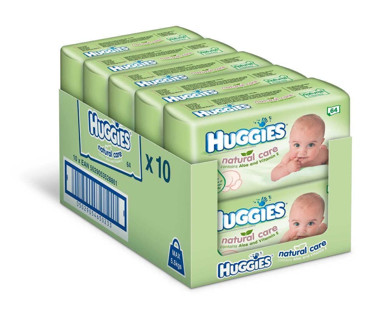 Huggies Natural Care Baby Wipes - 10 x packs of 64 (640 Wipes): Amazon.es: Salud y cuidado personal
