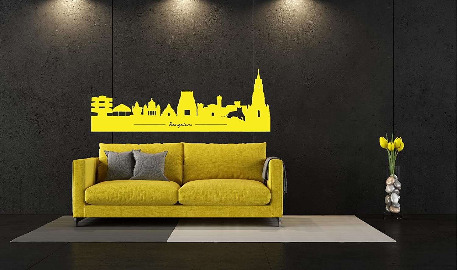 Buy Bangalore Skyscraper Wall Decal Extra Large White Online at Low ...