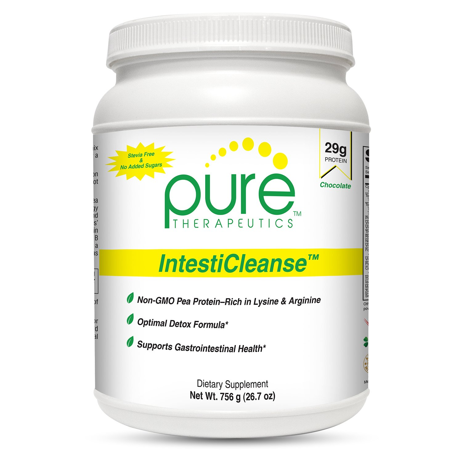 IntestiCleanse ''Chocolate'' - 29g of Pure Vegan Protein, a Non-Gmo Pea Protein Blend Sweetened with Monk Fruit | Features Aminogen and Quatrefolic | Gastrointestinal, Liver and Digestive Support