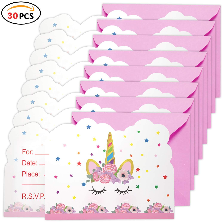 Qemsele inviti Compleanno Bambini Principessa Ragazze Festa di Compleanno e Baby Shower 30 Bello Inglese Inviti Battesimo con Buste Biglietti Cartoline per Bambini