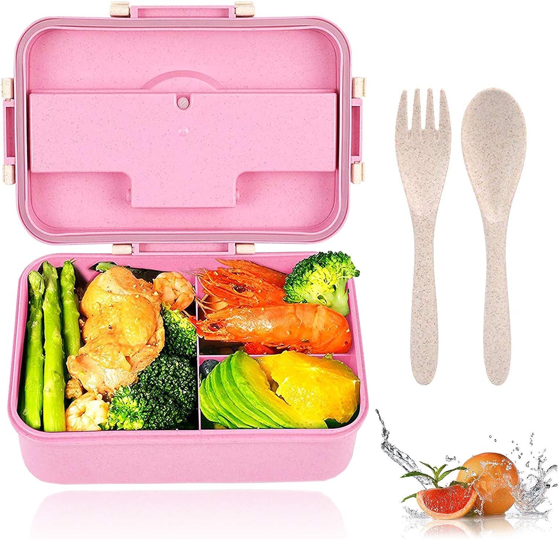Fiambrera Infantil Caja de Bento,Infantil Paja de Trigo loncheras,Bento Box con 3 Compartimentos y Cubiertos, para el Trabajo, Escuela, Viajes (Rosa)