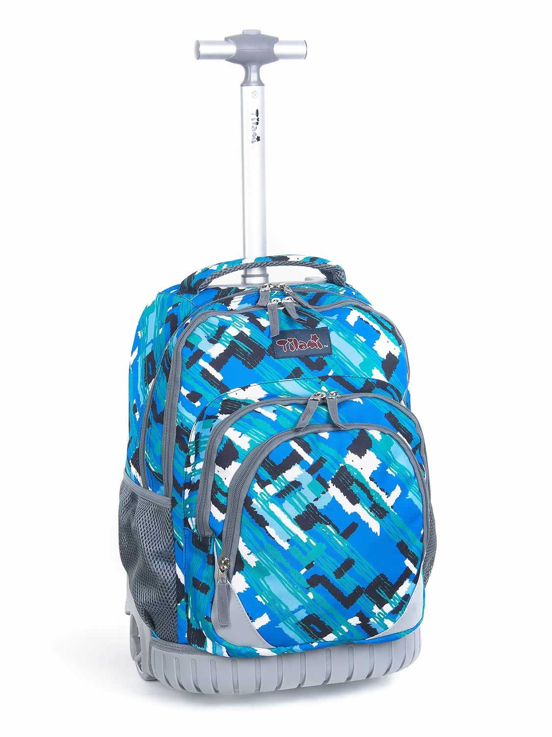 Tilami New Antifouling Design 18 Inch Oversized Load Multi-Compartment Wheeled Rolling Backpack Luggage for Kids … (Blue Canvas)