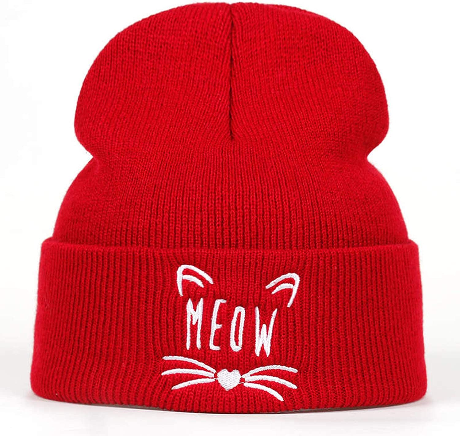 New Lady cat Embroidery Cotton Cap Fashion Cute 100/% Cotton Skullies hat Hip hop Girl Winter Warm hat
