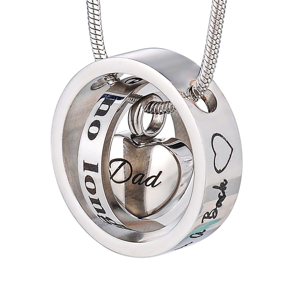 Housweety Cremation Urn Necklace Keepsake Ashes Holder Memorial Urn Pendants with I love you to the moon and back Dad
