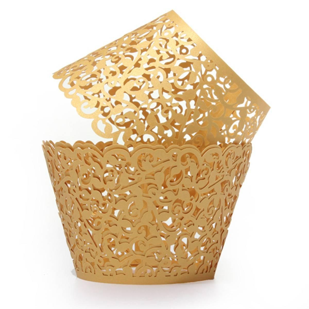 Gold Birthday Decorations Amazoncom Kingso 12pcs Filigree Vine Cupcake Wrappers Wraps