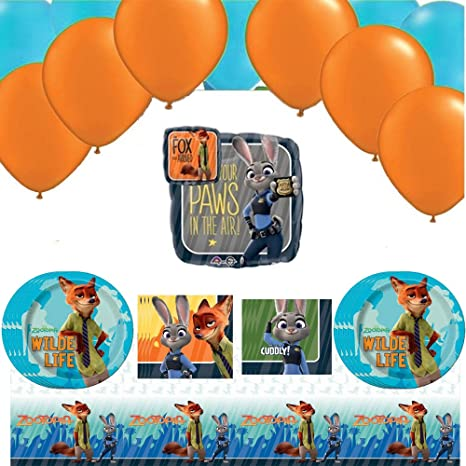 Combined Brands Zootopia Birthday Party Pack With Balloon Decoration For 16 Guests