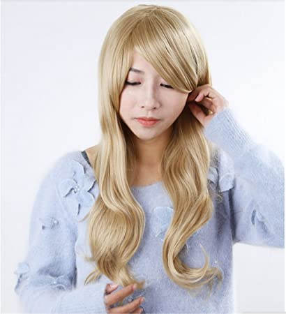 Worldflying@stylish Curly Hair Pad Light Blonde Wig Cospaly 70cm Young Long Synthetic Hair Perruque