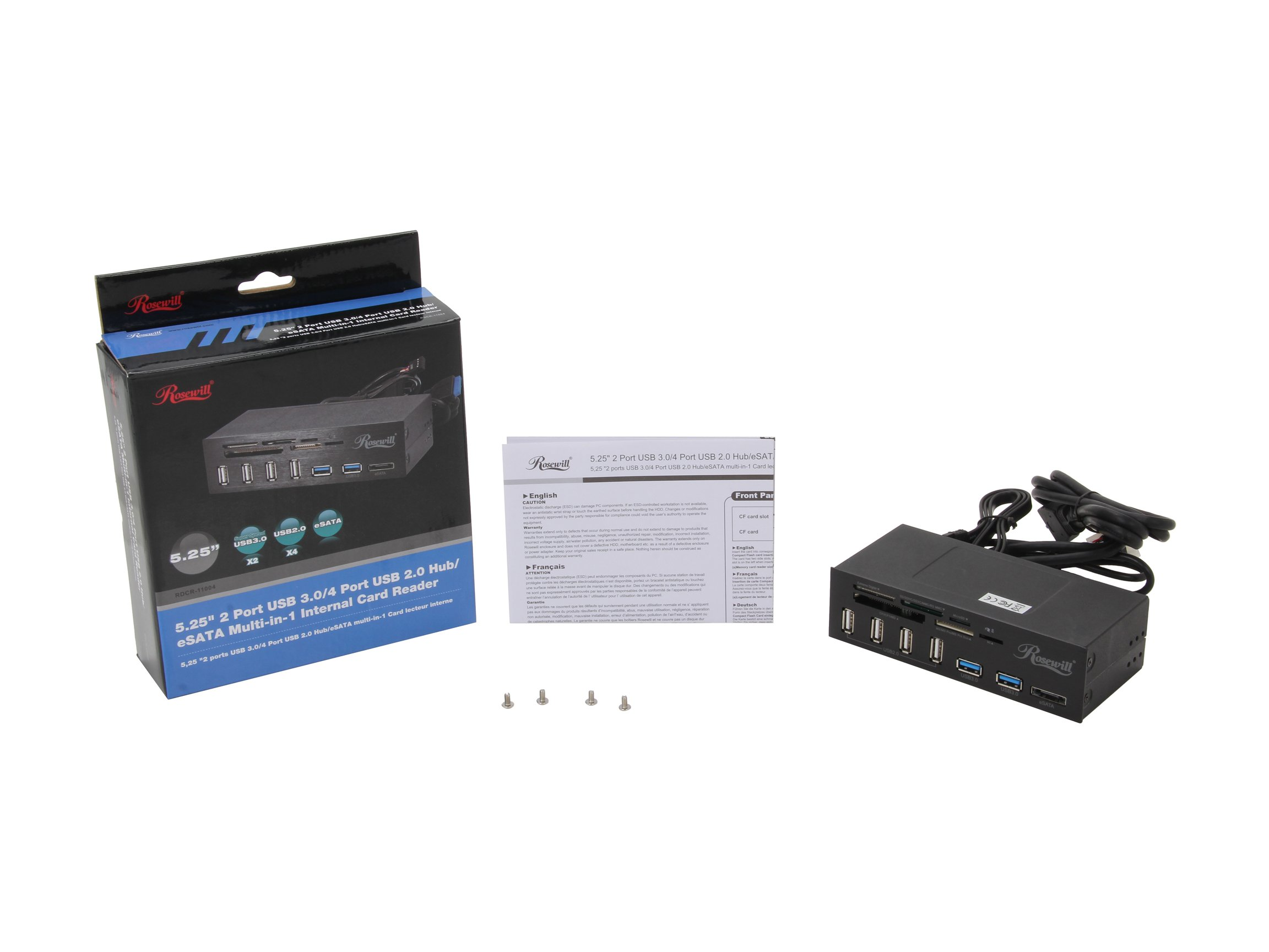 Rosewill 2-Port USB 3.0 4-Port USB 2.0 Hub eSATA Multi-In-1 Internal Card Reader with USB 3.0 Connector (RDCR-11004) by Rosewill (Image #5)