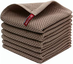 Mia'sDream Natural Cotton Dish Cloths, Tidy Dish Rags, Kitchen Dish Towels, Soft and Absorbent Hand Towel Washcloths, 12inchx12inch 6 Pack(Brown)