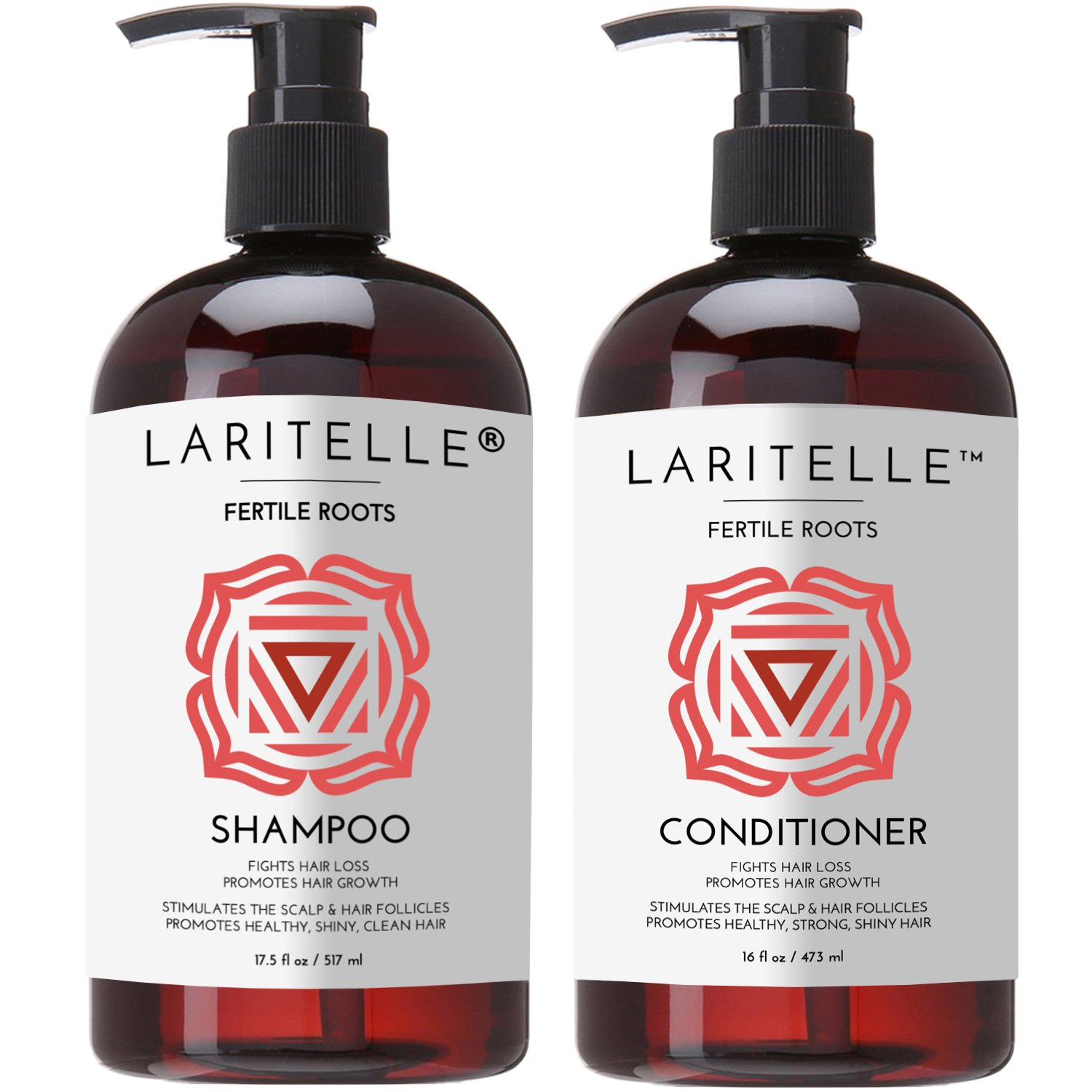 Laritelle Organic Shampoo 17 oz + Conditioner 16 oz | Prevents Hair Loss, Promotes Hair Growth | Ayurvedic Herbs, Lavender, Ginger & Rosemary | NO GMO, Sulfates, Gluten, Alcohol, Parabens, Phthalates