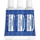 Dr. Bronner's - All-One Toothpaste (Peppermint, 1 ounce, 3-Pack) - 70% Organic Ingredients, Natural and Effective…