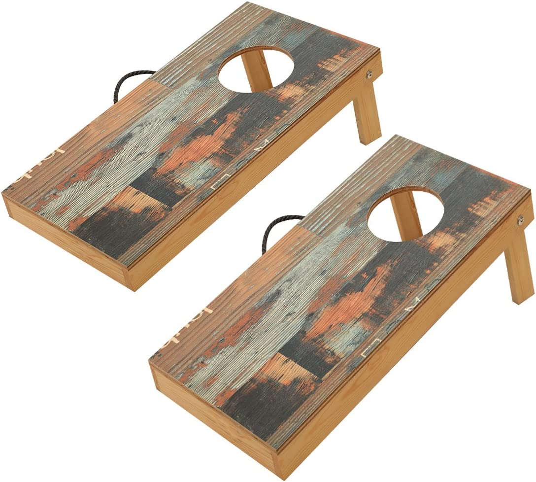 Durable Printed Surface and Underneath for Indoor and Outdoor TIANNBU Solid Wood Regulation Size 2 x 4 Cornhole Set Portable Bean Bags Toss Game