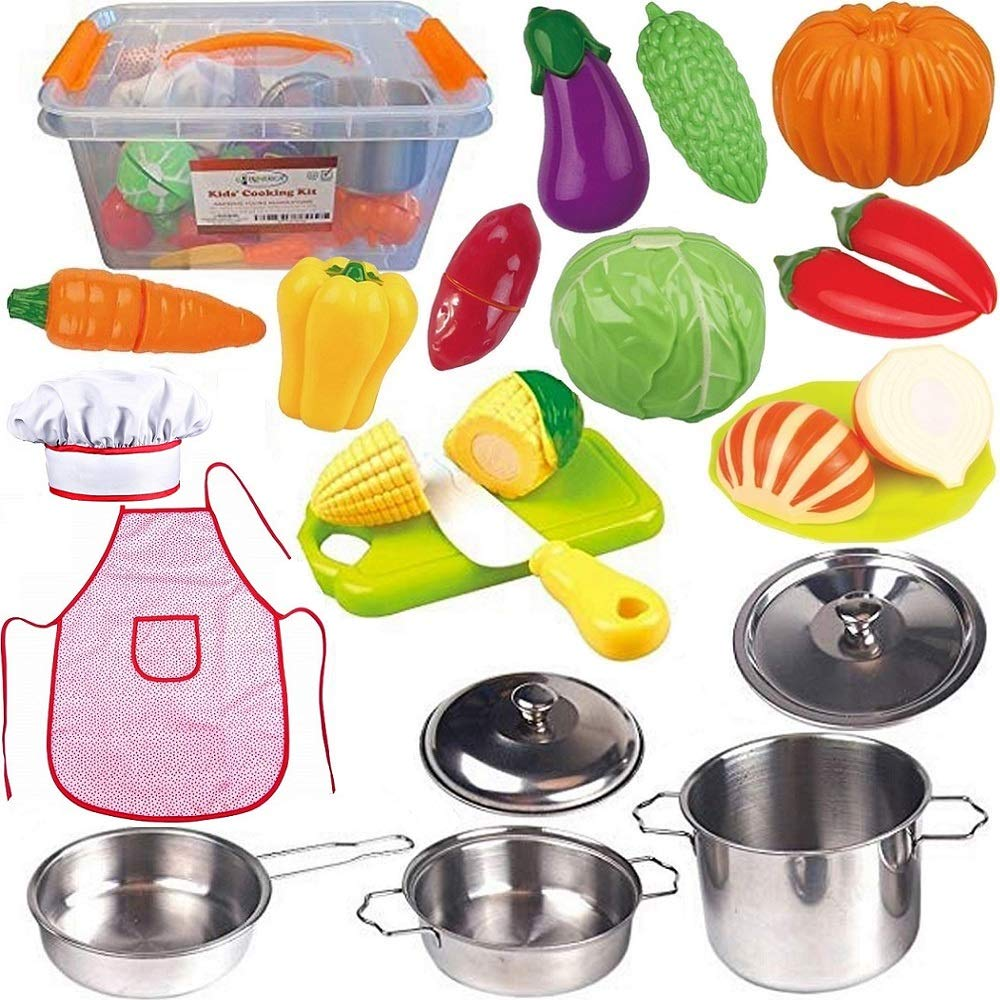 FUNERICA Toddler Play Kitchen Accessories Set, Stainless-Steel Toy Pots and Pans, Kids Apron & Chef Hat Set, Play Cut Vegetables with Knife, Play Kitchen Utensils, and Beautiful Storage Container by FUNERICA