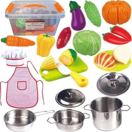 FUNERICA Toddler Play Kitchen Accessories Set, Stainless-Steel Toy Pots and  Pans, Kids Apron & Chef Hat Set, Play Cut Vegetables with Knife, Play ...